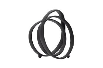 13 Inch Black Metal Interlocking Rings Sculpture