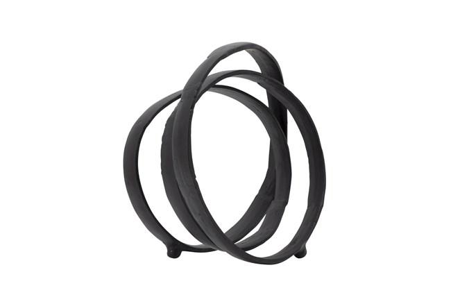 13 Inch Black Metal Interlocking Rings Sculpture - 360