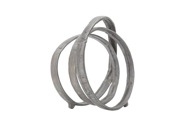 13 Inch Gunmetal Metal Interlocking Rings Sculpture - 360