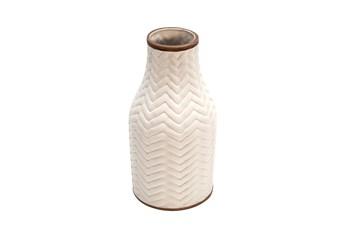 10 Inch White Ceramic Textured Chevron Vase