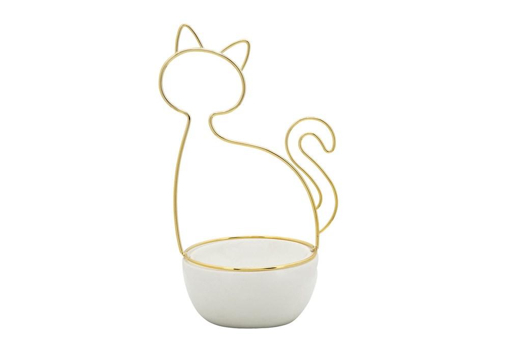 10 Inch White + Gold Cat Silhouette Trinket Dish