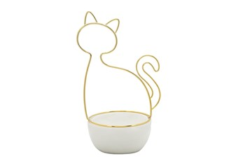 10 Inch White + Gold Cat Silhouette Trinket Dish