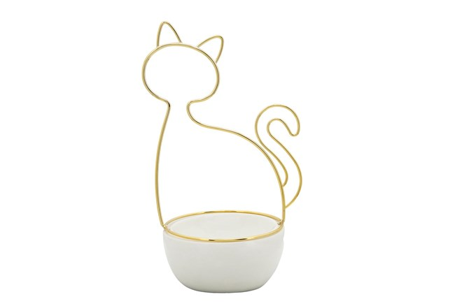 10 Inch White + Gold Cat Silhouette Trinket Dish - 360