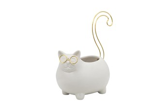 6 Inch White + Gold Cat Trinket Dish