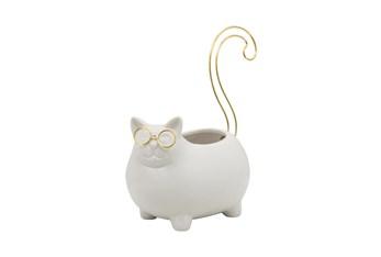 6 Inch White + Gold Cat Trinket Dish