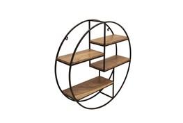 Metal/Wood 29 Inch Round Wall Shelf, Brown