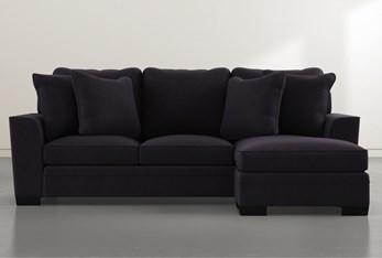 Delano Velvet Black Sofa Chaise