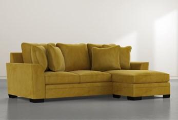 Delano Velvet Yellow Sofa Chaise
