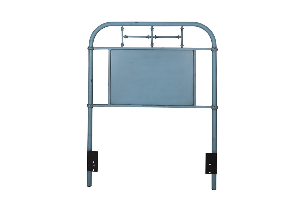 Cedar Falls Blue Twin Metal Headboard