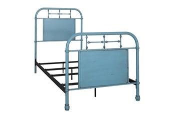 Cedar Falls Blue Twin Metal Bed
