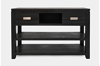Zachar Charcoal Console Table With 2 Drawers And Shelf
