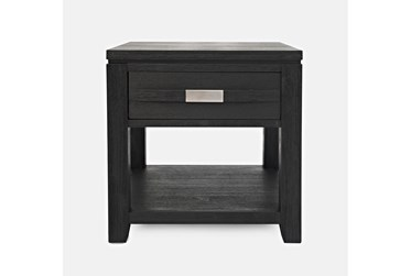 Zachar Charcoal End Table With Drawer And Shelf