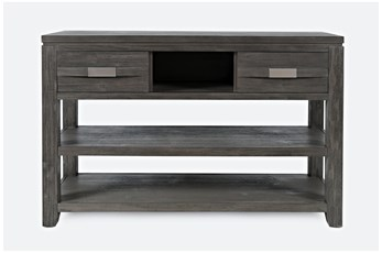 Zachar Grey Console Table With 2 Drawers And Shelf