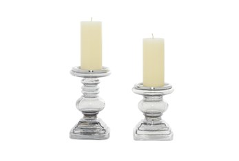 Clear Glass Candle Holder Set Of 2