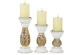 Beige Wood Candle Holder Set Of 3