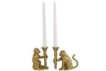 "5"" Gold Aluminum Candle Holder Set Of 2"
