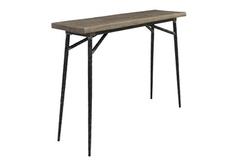 """40"""" Reclaimed Wood And Iron Slim Console Table"""