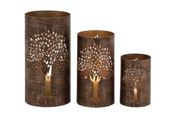 Brown Iron Lantern Set Of 3