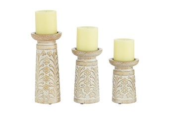 Brown Wood Candle Holder Set Of 3