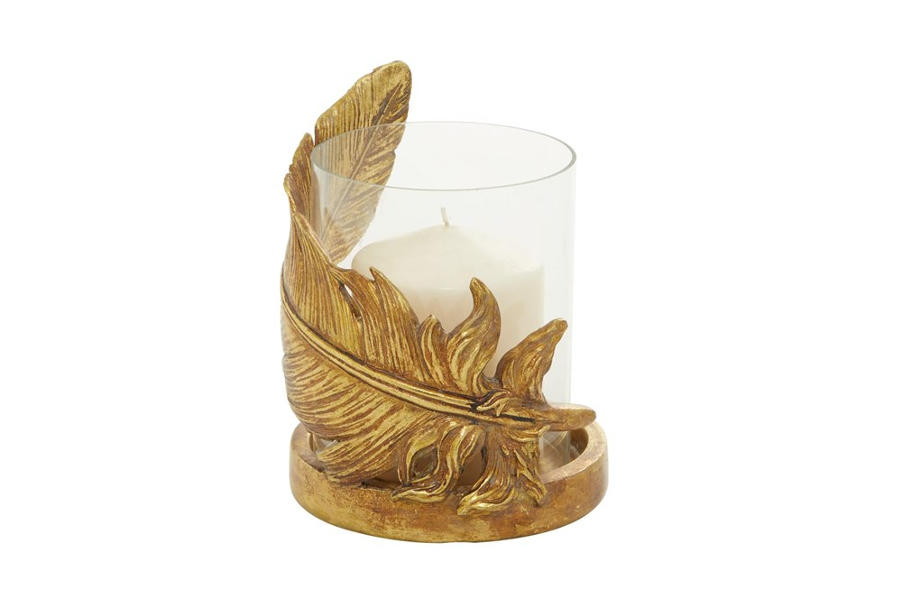 """8"""" Gold Glass Candle Holder"""