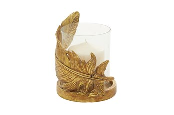 "8"" Gold Glass Candle Holder"