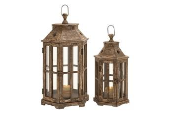 Brown Wood + Iron Lantern Set Of 2