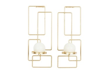 """13"""" Gold Iron Wall Sconce Set Of 2"""