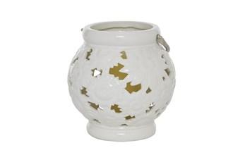 "9"" White Ceramic Lantern"