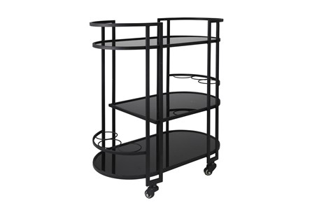 Black Metal + Glass Oval 3 Tier Bar Cart - Main