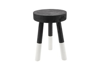 17 Inch Wooden 2-Tone Stool, Black