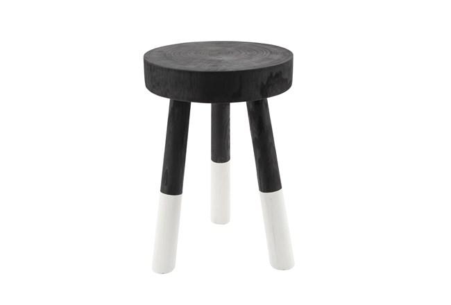 17 Inch Wooden 2-Tone Stool, Black - 360