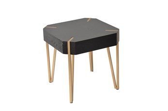 20 Inch Gold + Black Wood Clipped Corner Square End Table