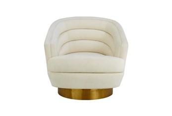 York Cream Velvet Swivel Accent Chair