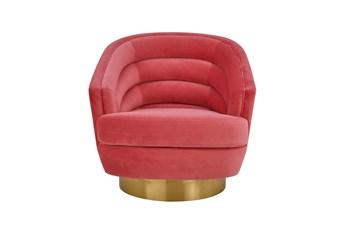 York Hot Pink Velvet Swivel Accent Chair