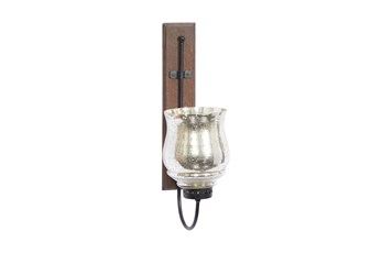 """21"""" Brown Mango Wood Wall Sconce"""