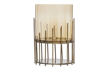 "13"" Gold Glass Candle Holder"