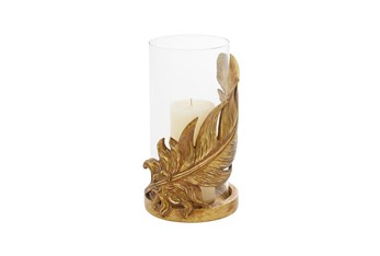 """10"""" Gold Glass Candle Holder"""