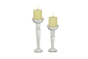 Clear Wood Candle Holder Set Of 2