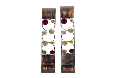 """24"""" Brown Iron Wall Sconce Set Of 2"""