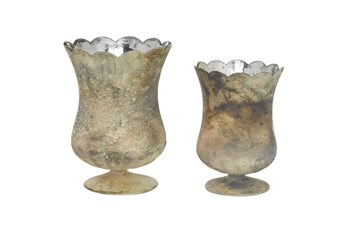 Brown Glass Candle Holder Set Of 2