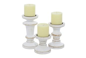 White Wood Candle Holder Set Of 3