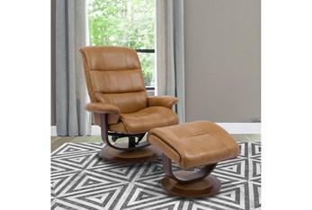 Dalbert Butterscotch Manual Reclining Swivel Chair and Ottoman