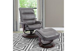Dalbert Grey Manual Reclining Swivel Chair and Ottoman