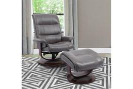 Dalbert Grey Manual Reclining Swivel Chair and Ottoman