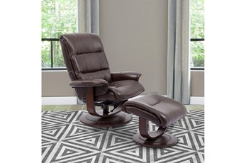 Dalbert Brown Manual Reclining Swivel Chair and Ottoman