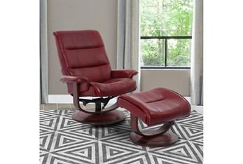 Dalbert Red Manual Reclining Swivel Chair and Ottoman