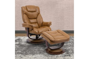 Farley Butterscotch Manual Reclining Swivel Chair And Ottoman