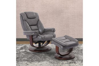 Farley Grey Manual Reclining Swivel Chair And Ottoman