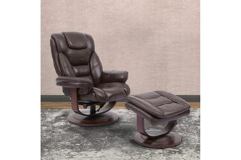 Farley Brown Manual Reclining Swivel Chair And Ottoman