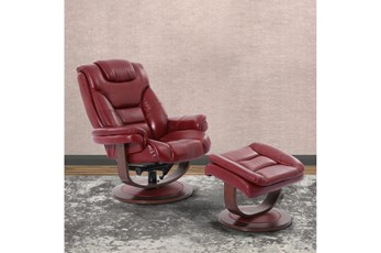 Farley Red Manual Reclining Swivel Chair And Ottoman